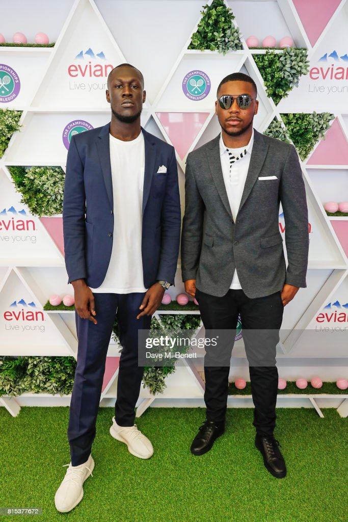 Stormzy (L) and Flipz attend the evian Live Young suite during Wimbledon 2017 on July 16, 2017 in London, England.