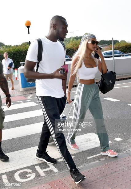 Stormzy and Maya Jama arrive at Stansted Airport as Spotify Premium throws the ultimate party in Spain for his 25th birthday on July 26 2018 in...