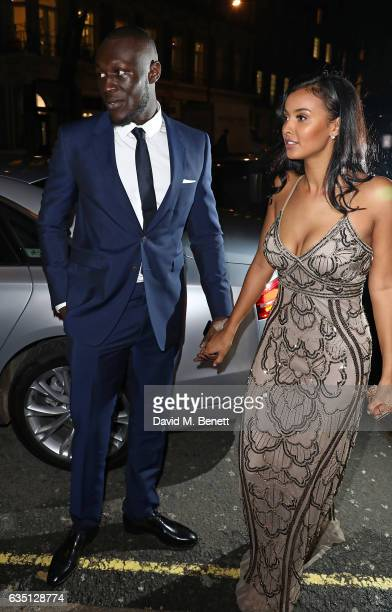 Stormzy and Maya Jama arrive in an Audi at the ELLE Style Awards at 41 Conduit Street on February 13 2017 in London England