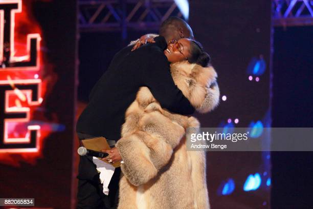 Stormzy and Nadia Rose on stage at the MOBO Awards at First Direct Arena Leeds on November 29 2017 in Leeds England