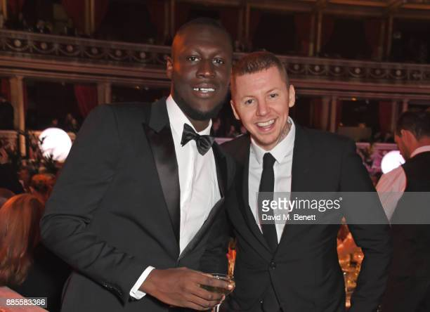 Stormzy and Professor Green attend a drinks reception ahead of The Fashion Awards 2017 in partnership with Swarovski at Royal Albert Hall on December...