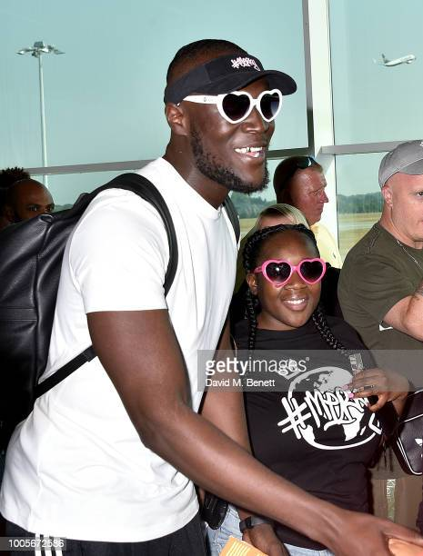 Stormzy arrives at Stansted Airport as Spotify Premium throws the ultimate party in Spain for his 25th birthday on July 26 2018