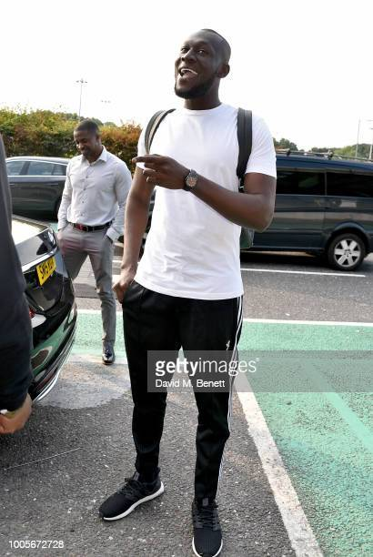 Stormzy arrives at Stansted Airport as Spotify Premium throws the ultimate party in Spain for his 25th birthday on July 26 2018 in London England