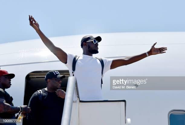 Stormzy arrives by #MerkyAirways as Spotify Premium throws the ultimate party in Spain for his 25th birthday on July 26 2018 in Menorca Spain