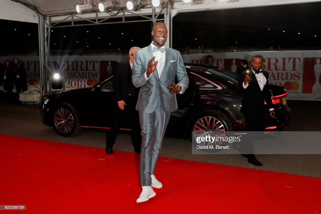 Stormzy arrives in an Audi for the BRIT Awards at The O2 Arena on February 21, 2018 in London, England.