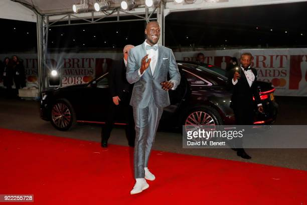 Stormzy arrives in an Audi for the BRIT Awards at The O2 Arena on February 21 2018 in London England