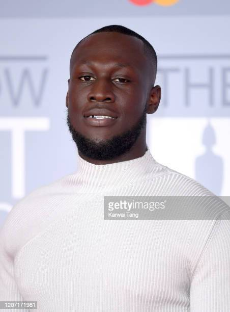 Stormzy attends The BRIT Awards 2020 at The O2 Arena on February 18, 2020 in London, England.