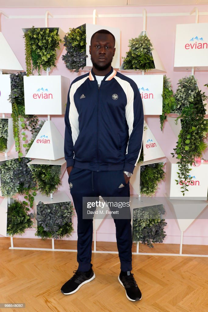 Stormzy attends the evian Live Young Suite at The Championship at Wimbledon on July 14, 2018 in London, England.