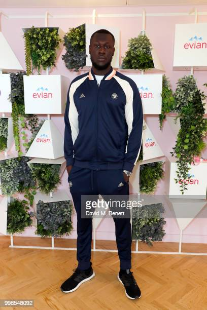Stormzy attends the evian Live Young Suite at The Championship at Wimbledon on July 14 2018 in London England