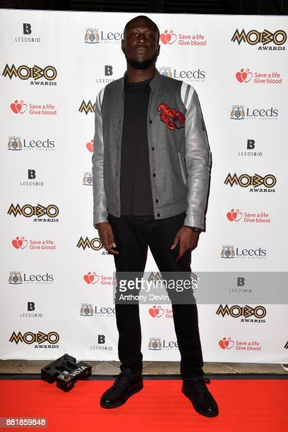 Stormzy attends the MOBO Awards at First Direct Arena Leeds on November 29 2017 in Leeds England
