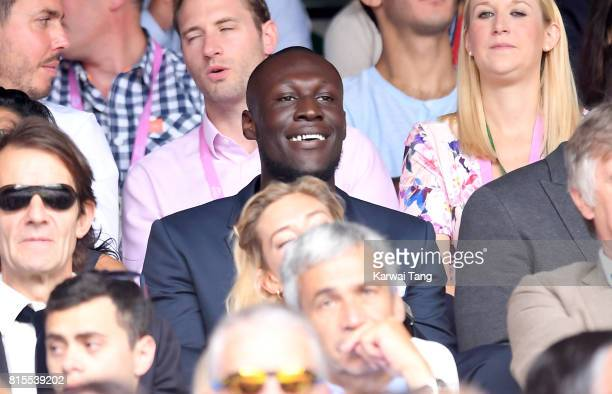 Stormzy attends Wimbledon 2017 as evian guests during day 13 on July 16 2017 in London England