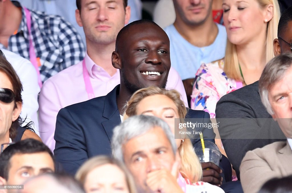 Stormzy attends Wimbledon 2017 as evian guests during day 13 on July 16, 2017 in London, England.