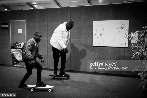Stormzy backstage during the MTV EMAs 2017 held at The SSE Arena Wembley on November 12 2017 in London England