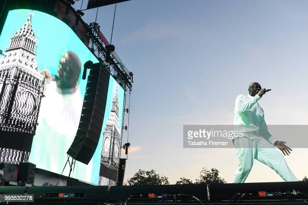 Stormzy headlines the Main Stage on Day 2 of Wireless Festival 2018 at Finsbury Park on July 7 2018 in London England