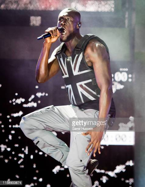 Stormzy headlines the Pyramid Stage on day three of Glastonbury Festival at Worthy Farm Pilton on June 28 2019 in Glastonbury England