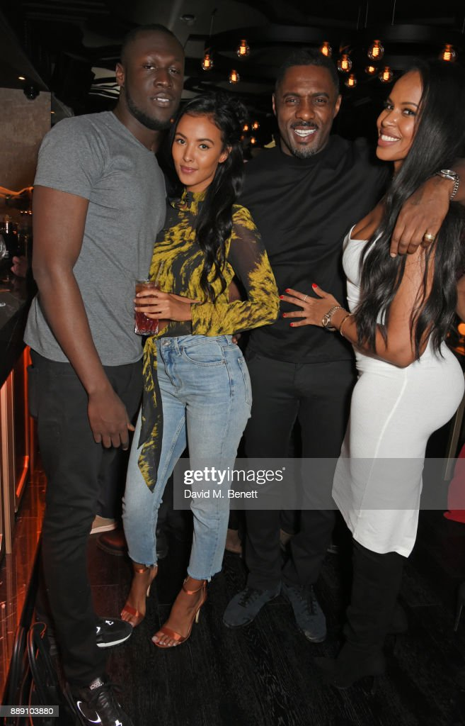 Stormzy, Maya Jama, Idris Elba and Sabrina Dhowre attend Idris Elba's Christmas Party at Kadie's Cocktail Bar & Club on December 9, 2017 in London, England.