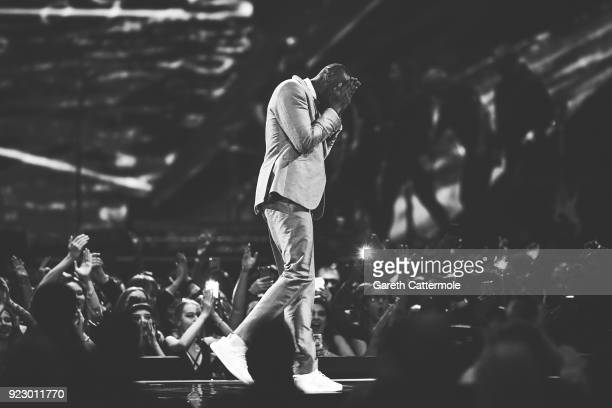Stormzy on stage at The BRIT Awards 2018 held at The O2 Arena on February 21 2018 in London England