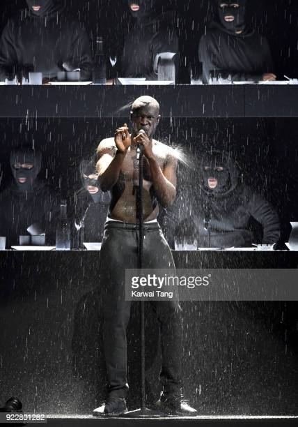 AWARDS 2018 *** Stormzy performs at the BRIT Awards 2018 held at The O2 Arena on February 21 2018 in London England