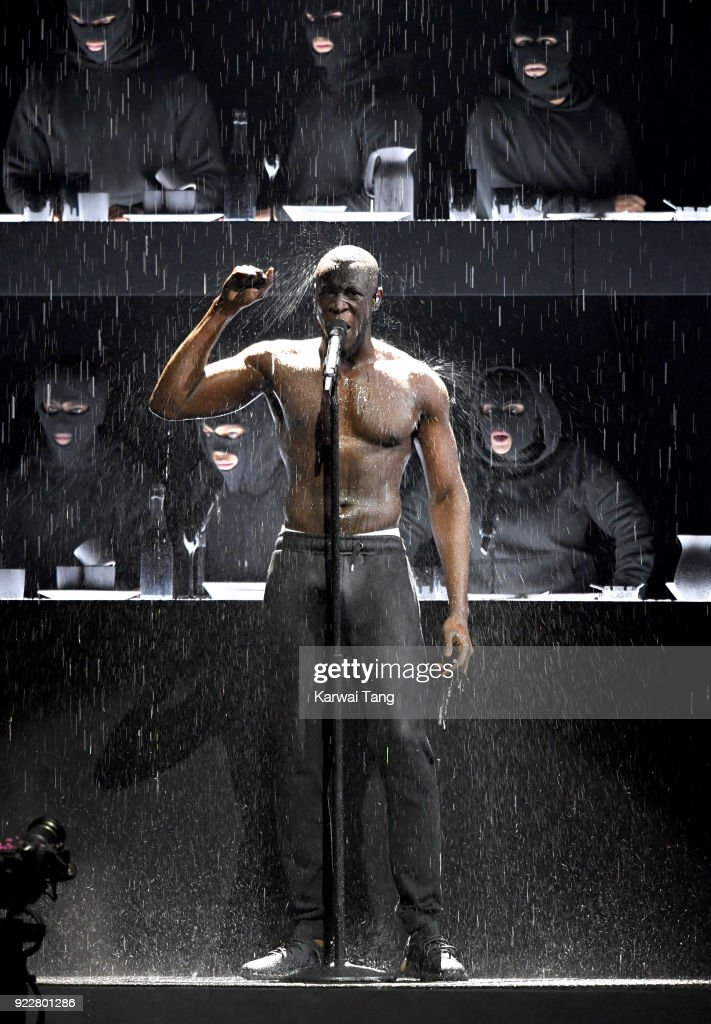 Stormzy performs at the BRIT Awards 2018 held at The O2 Arena on February 21, 2018 in London, England.
