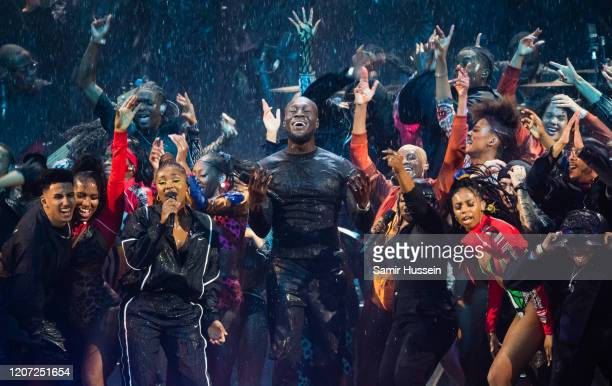 Stormzy performs during The BRIT Awards 2020 at The O2 Arena on February 18, 2020 in London, England.