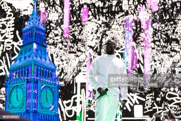 Stormzy performs during Wireless Festival 2018 at Finsbury Park on July 7th 2018 in London England