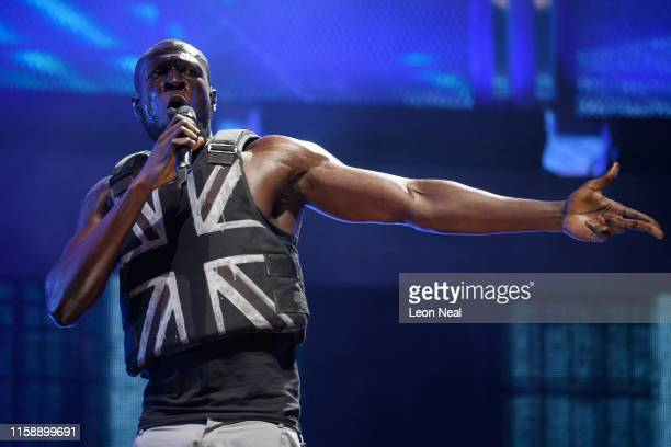Stormzy performs in the headline slot on the Pyramid Stage on day three of Glastonbury Festival at Worthy Farm Pilton on June 28 2019 in Glastonbury...