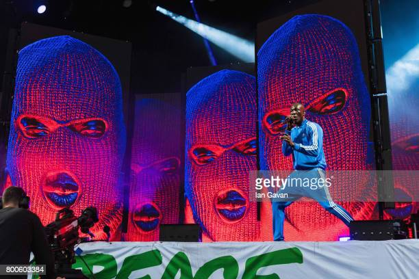 Stormzy performs on day 3 of the Glastonbury Festival 2017 at Worthy Farm Pilton on June 24 2017 in Glastonbury England
