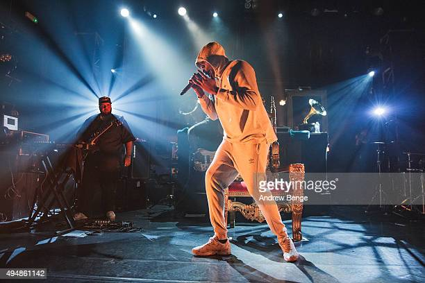 Stormzy performs on stage at KOKO on October 29 2015 in London England