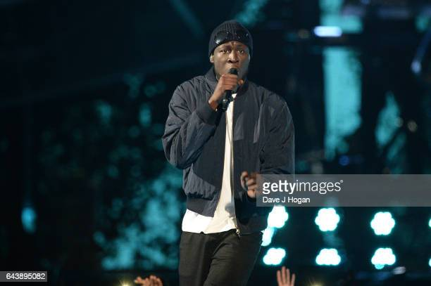 ONLY Stormzy performs on stage at The BRIT Awards 2017 at The O2 Arena on February 22 2017 in London England