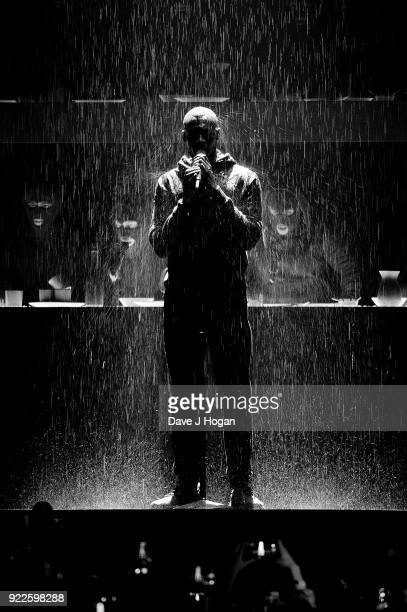 Image has been converted to black and white Stormzy performs on stage at The BRIT Awards 2018 held at The O2 Arena on February 21 2018 in London...
