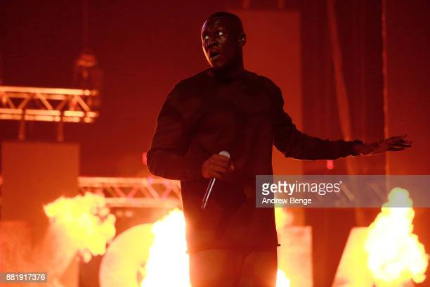 Stormzy performs on stage at the MOBO Awards at First Direct Arena Leeds on November 29 2017 in Leeds England