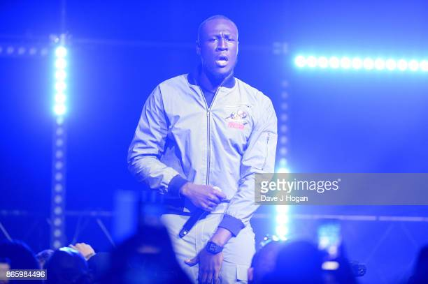 Stormzy performs on stage at UK Grime and Hip Hop the KA GRM Daily RATED AWARDS at legendary music venue The Roundhouse on October 24 2017 in London...
