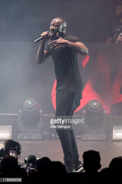 Stormzy performs on stage during GRM Daily Presents The Rated Legend Tribute Show In Memory Of Cadet at Brixton Academy on March 2 2019 in London...