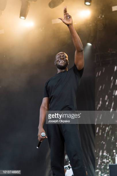 Stormzy performs on stage on day 1 of Sziget Festival 2018 on August 8 2018 in Budapest Hungary