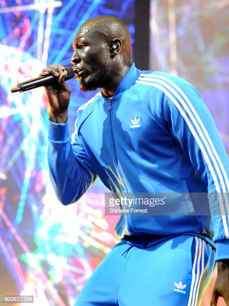 Stormzy performs on the Other stage on day 3 of the Glastonbury Festival 2017 at Worthy Farm Pilton on June 24 2017 in Glastonbury England