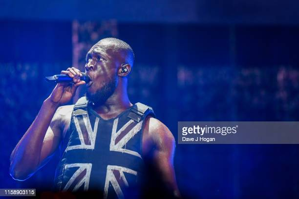 Stormzy performs on the Pyramid stage during day three of Glastonbury Festival at Worthy Farm Pilton on June 28 2019 in Glastonbury England