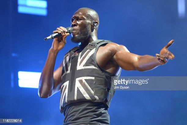 Stormzy performs on the Pyramid stage during day three of Glastonbury Festival at Worthy Farm, Pilton on June 28, 2019 in Glastonbury, England. The...