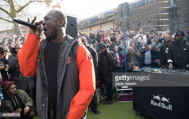 Stormzy performs pop up gig in Camden on GSAP album release day on February 24 2017 in London England