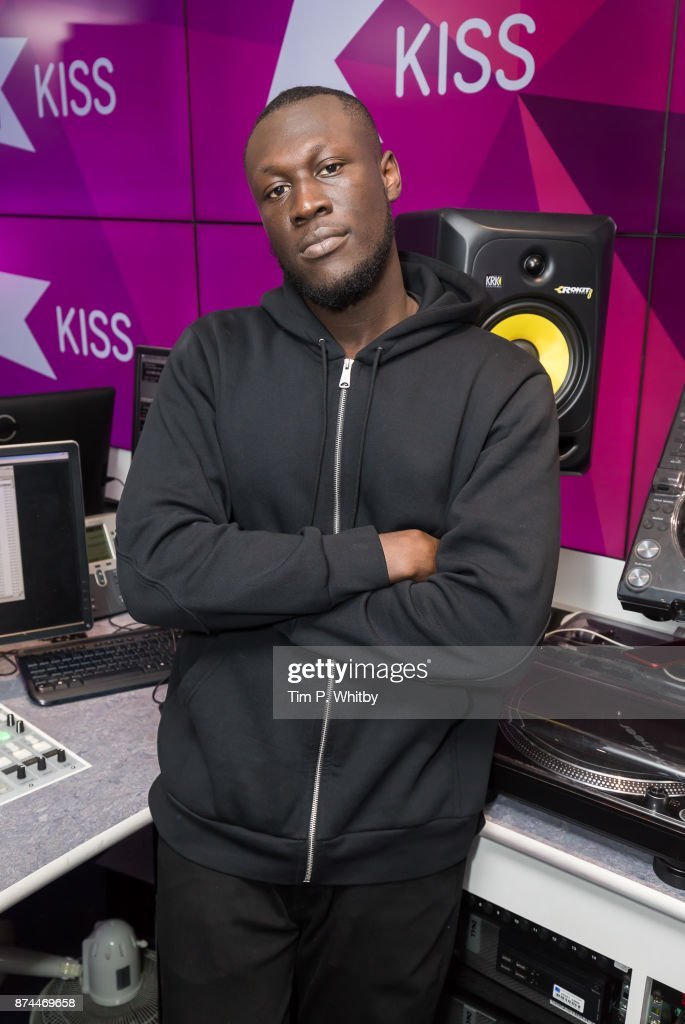 Stormzy poses for a photo during a visit to Kiss FM Studio's on November 15, 2017 in London, England.