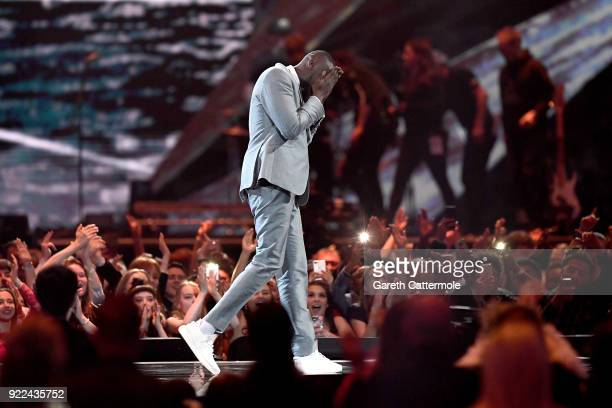 AWARDS 2018 *** Stormzy winner of the Best British Male Solo Artist attends at The BRIT Awards 2018 held at The O2 Arena on February 21 2018 in...