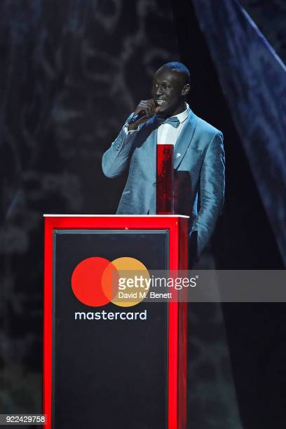 AWARDS 2018 *** Stormzy winner of the Best British Male Solo Artist attends The BRIT Awards 2018 held at The O2 Arena on February 21 2018 in London...