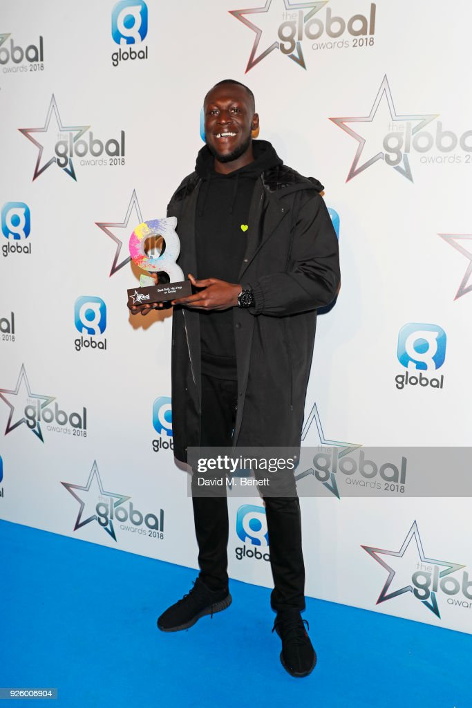 Stormzy, winner of the Best RnB, Hip Hop or Grime award, attend The Global Awards 2018 at Eventim Apollo, Hammersmith on March 1, 2018 in London, England.