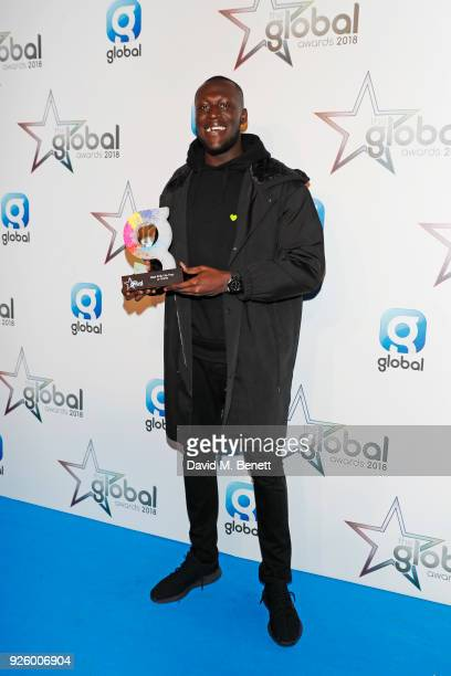 Stormzy winner of the Best RnB Hip Hop or Grime award attend The Global Awards 2018 at Eventim Apollo Hammersmith on March 1 2018 in London England