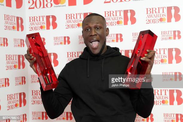 AWARDS 2018*** Stormzy winner of the British Album of the Year and British Male Solo Artist awards poses in the winners room during The BRIT Awards...