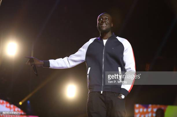 Stormzy wins 'Most Entertaining Celeb' at the BBC Radio 1 Teen Awards 2017 at Wembley Arena on October 22 2017 in London England