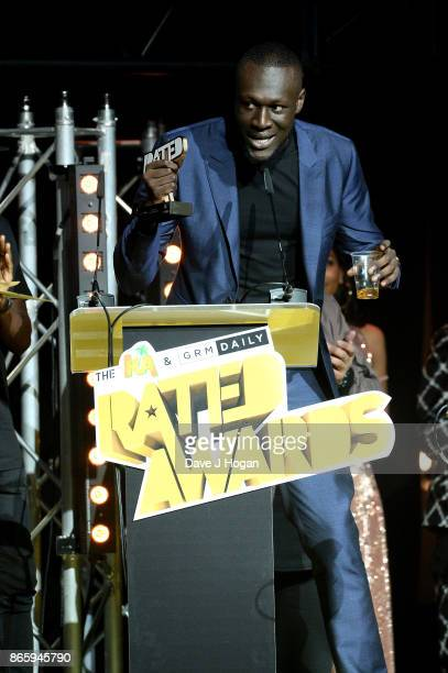 Stormzy wins the award for Best Video at UK Grime and Hip Hop the KA GRM Daily RATED AWARDS at legendary music venue The Roundhouse on October 24...