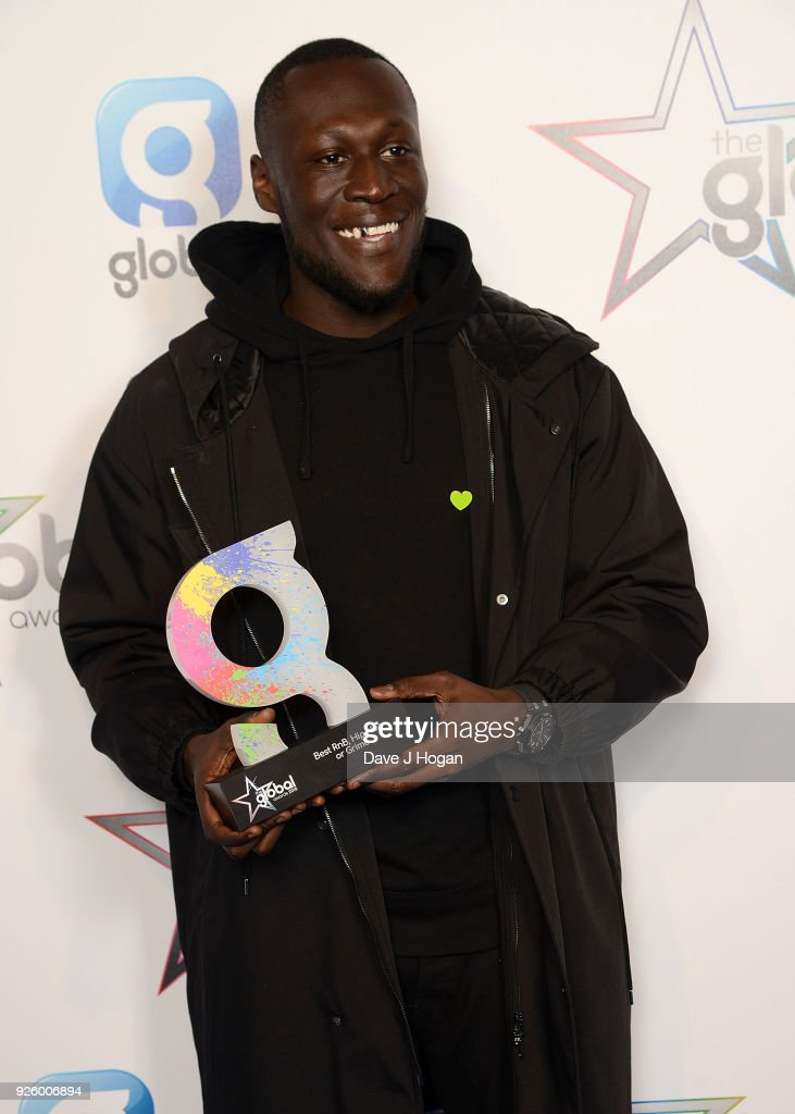 Stormzy wins the Best RnB, Hip Hop or Grime Award at The Global Awards, a brand new awards show hosted by Global, the Media & Entertainment Group at Eventim Apollo, Hammersmith on March 1, 2018 in London, England.