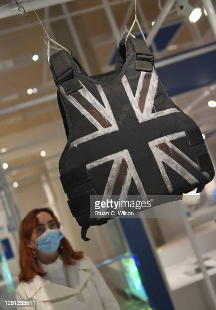 Stormzy's Stab Proof Vest by Banksy on display during the Beazley Designs Of The Year 2020 photocall at Design Museum on October 20 2020 in London...