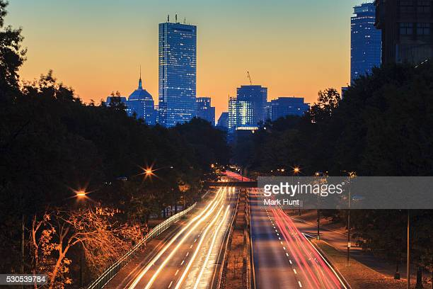 Storrow Drive at dawn with skyline in background, Boston, Massachusetts, USA