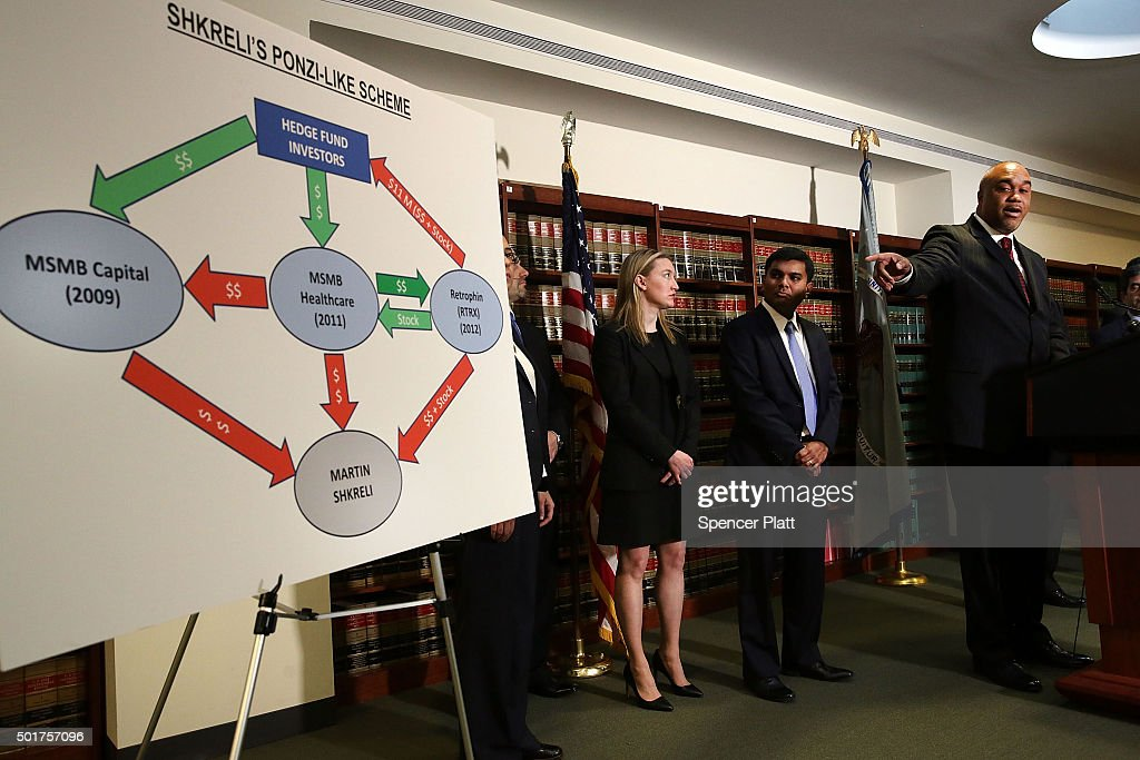 A story board is used as Robert Capers, U.S. Attorney for the Eastern District, speaks to the the media after the arrest of former hedge fund manager Martin Shkreli on December 17, 2015 in New York City. Shkreli, who came to world fame after buying a pharmaceutical company and dramatically raising the prices on certain life-saving drugs, was arrested in New York on a seven-count indictment for a variety of financial frauds. Attorney Evan Greebel was also arrested and charged with conspiracy to commit wire fraud.